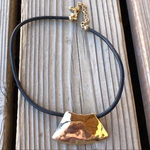 Chico's Jewelry - Chico's Gold High Gloss Hammered Metal Pendant